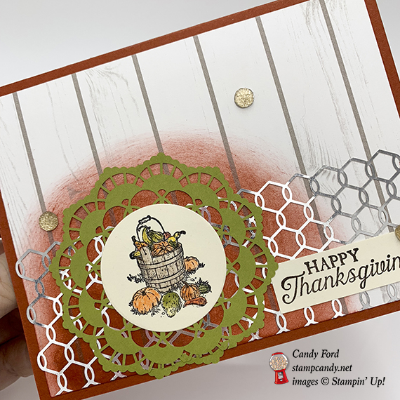 Happy Thanksgiving card made with Pleasant Pheasants stam pset, Watercolor pencils, Layering Circles Framelits Dies, Chicken Wire Elements by Stampin' Up! #stampcandy