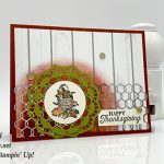 Happy Thanksgiving card made with Pleasant Pheasants stam pset, Watercolor pencils, Layering Circles Framelits Dies, Chicken Wire Elements by Stampin