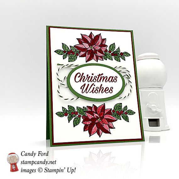 Stampin Up Peaceful Pointsettia bundle handmade Christmas Card by Candy Ford of Stamp Candy