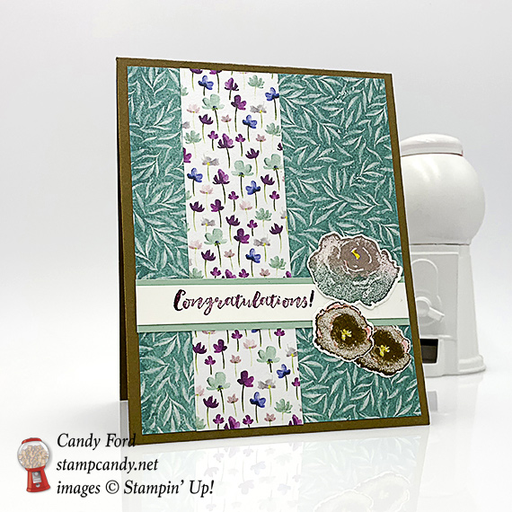 Stampin' Up! First Frost Frosted Floral handmade congratulations card by Candy Ford of Stamp Candy