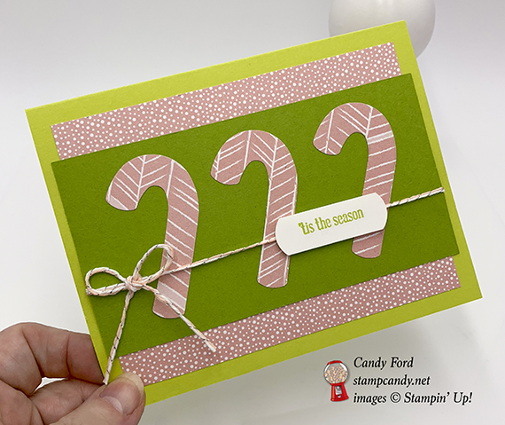 Tis the Season, Itty Bitty Greetings stamp set, Candy Cane Builder Punch, handmade card, Stampin' Up!, #stampcandy