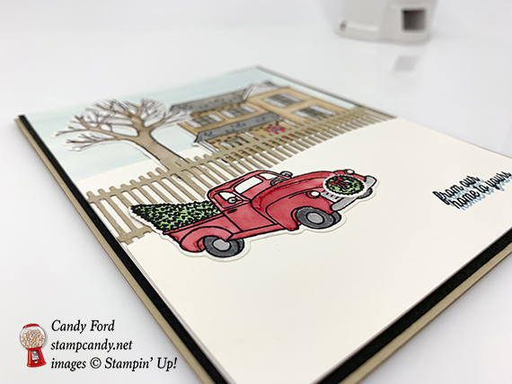 Farmhouse Christmas layered watercolor card, Stampin' Up! #stampcandy