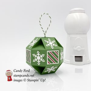 Snowfall Thinlits, Snowflake Showcase, faceted ornament, Christmas ornament, Stampin' Up! #stampcandy