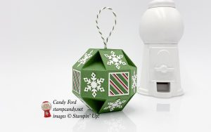 Snowfall Thinlits, Snowflake Showcase, faceted ornament, Christmas ornament, Stampin