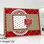 Stampin Up All Is Bright Under the Mistletoe DSP handmade Christmas card by Candy Ford of Stamp Candy