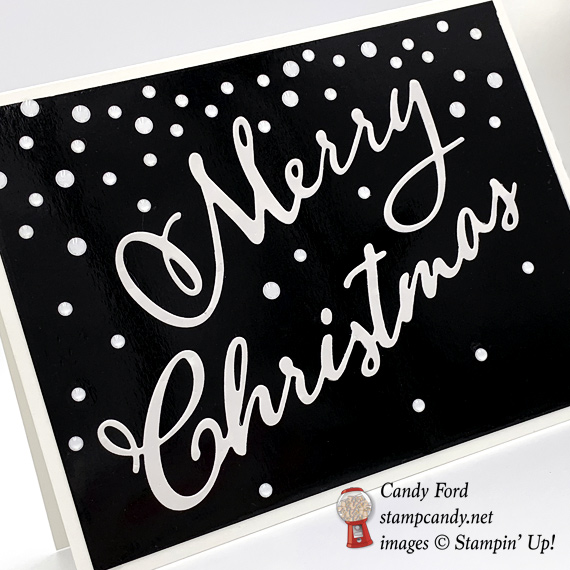 Stampin' Up! Black and White Merry Christmas Thinlit Dies handmade card by Candy Ford of Stamp Candy