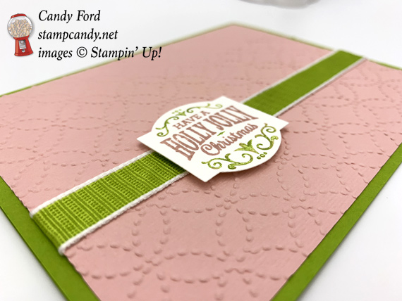 Stampin' Up! Christmas Traditions Punch Box Handmade Christmas card with Quilt Top Embossing Folder made by Candy Ford of Stamp Candy