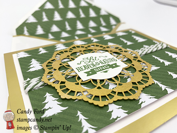 Stampin Up Christmas Traditions Punch Box foil edge cards and evelopes by Candy Ford of Stamp Candy