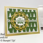 Stampin Up Christmas Traditions Punch Box Chritmas card made using the gold foil edge cards and evelopes by Candy Ford of Stamp Candy