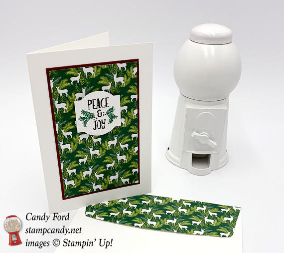 Stampin' Up! Christmas Traditions Punch Box meets Joyous Noel DSP handmade Merry Christmas card made by Candy Ford of Stamp Candy