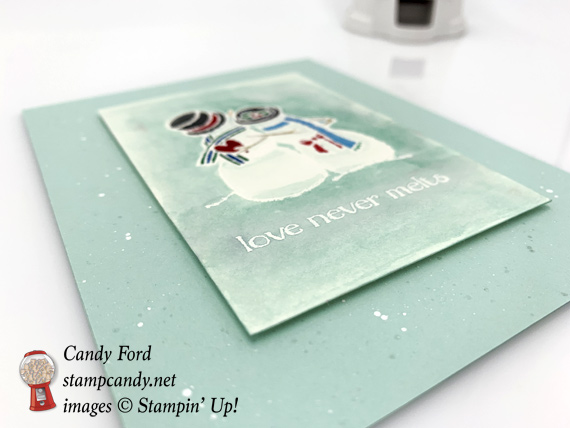 Stampin Up Spirited Snowmen Love Never Melts handmade watercolored Christmas Card by Candy Ford of Stamp Candy