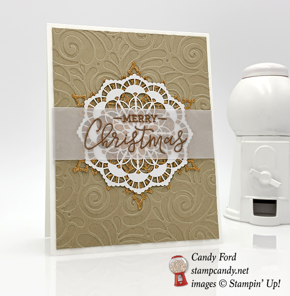 Stampin' Up! Warm Hearted Hostess stamp set handmade Christmas card by Candy Ford of Stamp Candy