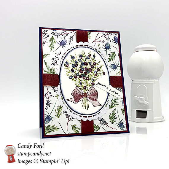 Stampin' Up! Wishing You Well Frosted Floral DSP handmade card by Candy Ford of #StampCandy