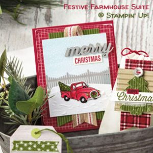 Farmhouse Christmas Suite samples by Stampin' Up! #stampcandy