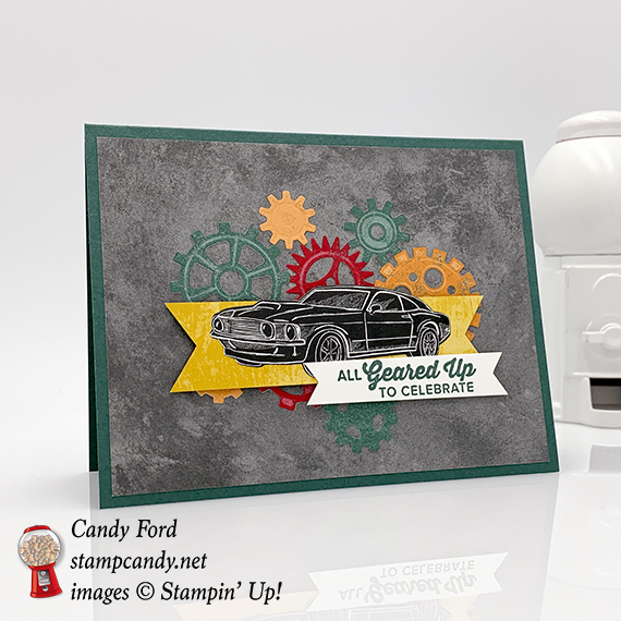 Geared Up Garage bundle, Classic Garage paper, male birthday card, Stampin' Up! #stampcandy