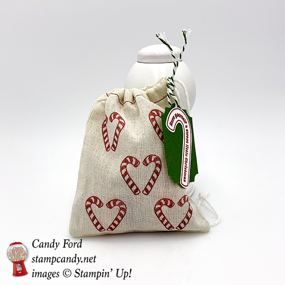 Candy Cane Season stamp set, Santa's Bags, Christmas Treat bag, Stampin' Up! #stampcandy