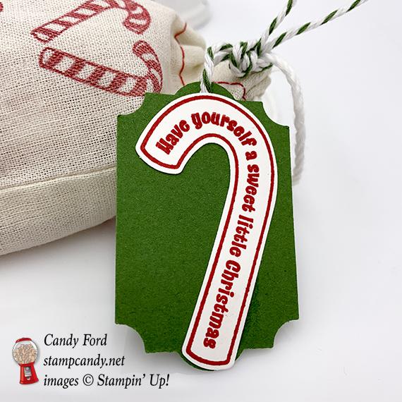 Candy Cane Season stamp set, Santa's Bags, Christmas Treat bag, Stampin' Up! #stampcandy