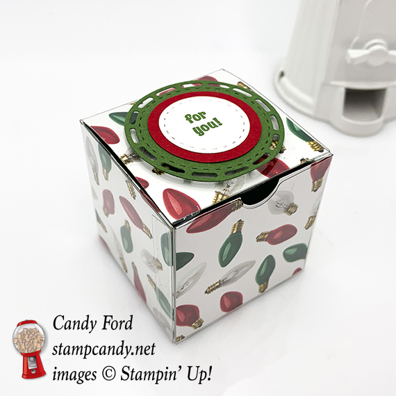 Stitched Labelsand Layering Circles Framelits Dies, All is Bright paper, Clear Tiny Treat Box, Christmas gift box, Stampin' Up! #stampcandy