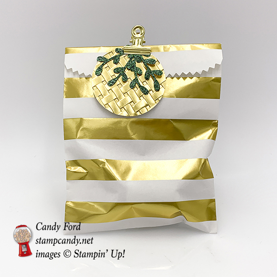 Sprig Punch and the Basket Weave embossing folder decorate this gift bag, Stampin' Up! #stampcandy