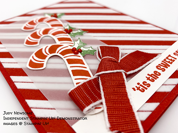 Christmas card made by Judy Newsome using the Candy Cane Season bundle and Santa's Workshop paper by Stampin' Up! #stampcandy