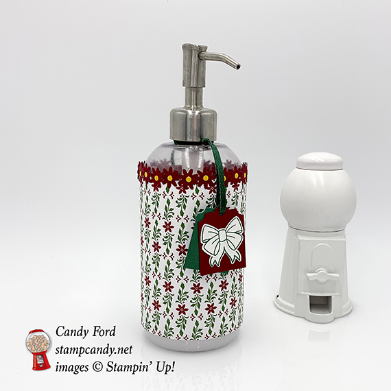 soap / lotion dispenser decorated with Dashing Along paper and Bitty Blooms Punch Pack by Stampin' Up! #stampcandy