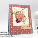 friend card made with Needle & Thread stamp set, Needlepoint Elements Framelits Dies, bundle, Needlepoint Nook paper, Stampin