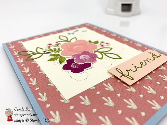 friend card made with Needle & Thread stamp set, Needlepoint Elements Framelits Dies, bundle, Needlepoint Nook paper, Stampin' Up! #stampcandy