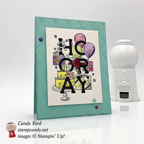 Candy Ford made this card using the Birthday Statements stamp set and Tufted embossing folder by Stampin' Up! #stampcandy