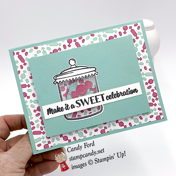 shaker card made with Sweetest Thing stamp set, Jar of Sweets Framelits Dies, How Sweet It Is paper by Stampin' Up! #stampcandy