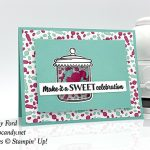 shaker card made with Sweetest Thing stamp set, Jar of Sweets Framelits Dies, How Sweet It Is paper by Stampin