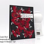 Friendship card made by Candy Ford using Beauty Abounds stamp set, Butterfly Beauty dies, Botanical Butterfly paper, and Red Rhinestones by Stampin