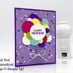 Happy Birthday card made with the Sweetest Thing stamp set, Circle Punches, How Sweet It Is paper, Gorgeous Grape ribbon, Whisper White twine by Stampin