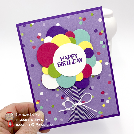 Happy Birthday card made with the Sweetest Thing stamp set, Circle Punches, How Sweet It Is paper, Gorgeous Grape ribbon, Whisper White twine by Stampin' Up! Card made by Candy Ford of Stampin' Up!