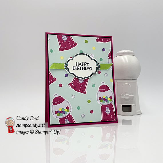Sweetest Thing stamp set, Jar of Sweets Framelits Dies, How Sweet It Is paper, reversible ribbon, from Stampin' Up! Card made by Candy Ford of #stampcandy