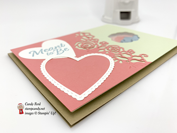 Forever Lovely Bundle and Be Mine Stitched Framelits Dies by Stampin' Up! shaker card made by Candy Ford #stampcandy