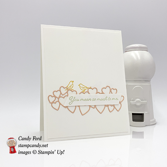 Flowing Fountain stamp set, Be Mine Stitched Framelits Dies by Stampin' Up! Card made by Candy Ford for GDP173 #stampcandy