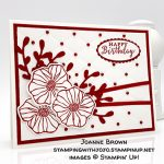 "Detailed with Love stamp set, Oh So Eclectic stamp set, Eclectic Layers Thinlits Dies, Sprig Punch, Tufted dynamic embossing folder, Red Rhinestones, REal Red 1/8"" Solid Ribbon, Happy Birthday card made by Joanne Brown. Stampin"