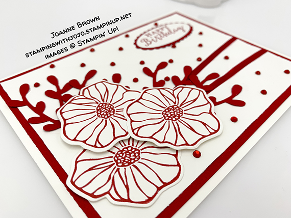 """Detailed with Love stamp set, Oh So Eclectic stamp set, Eclectic Layers Thinlits Dies, Sprig Punch, Tufted dynamic embossing folder, Red Rhinestones, REal Red 1/8"""" Solid Ribbon, Happy Birthday card made by Joanne Brown. Stampin' Up! #stampcandy"""