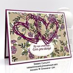Accented Blooms stamp set, Sunshine Sayings Thinlits Dies, Share What You Love Specialty Designer Series Paper, Valentine love card, made by Debbie Catlett, Stampin