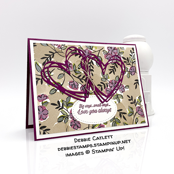 Accented Blooms stamp set, Sunshine Sayings Thinlits Dies, Share What You Love Specialty Designer Series Paper, Valentine love card, made by Debbie Catlett, Stampin' Up! #stampcandy