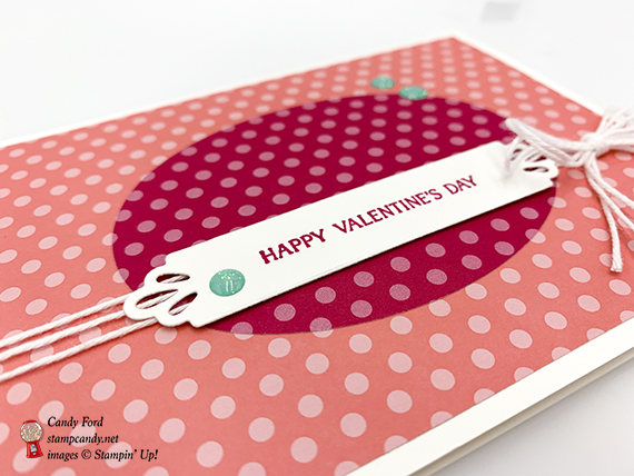 Forever Lovely stamp set, Needlepoint Elements Framelits Dies, Brights 6x6 paper, Glitter Enamel Dots, Whisper White Twine by Stampin' Up! Valentine card made by Candy Ford #stampcandy