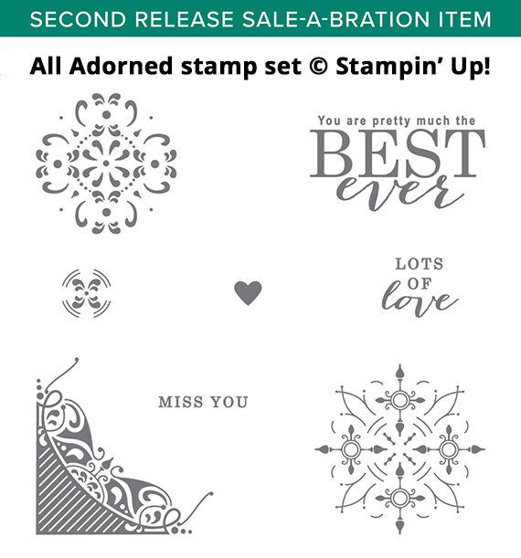 All Adorned stamp set, 2nd release Sale-a-bration item 2019, Stampin' Up #stampcandy