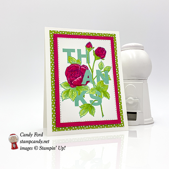 Stampin' Up! Floral Statement stamp set, thank you card for GDP177, made by Candy Ford #stampcandy