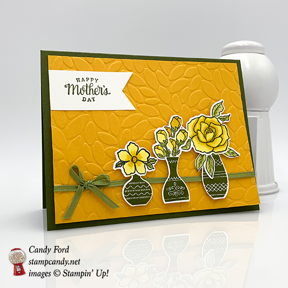 Candy Ford made this Mother's Day card using the Tea Together Stamp set, Tea Time Framelits Dies, Vibrant Vases stamp set, Vase Builder Punch, and Petal Burst embossing folder from Stampin' Up! #stampcandy