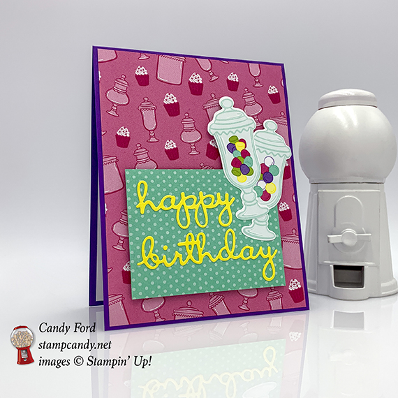 happy birthday card made by Candy for using Well Written Dies, How Sweet It Is paper, Jar of Sweets Framelits Dies, from Stampin' Up! #stampcandy