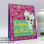 happy birthday card made by Candy for using Well Written Dies, How Sweet It Is paper, Jar of Sweets Framelits Dies, from Stampin