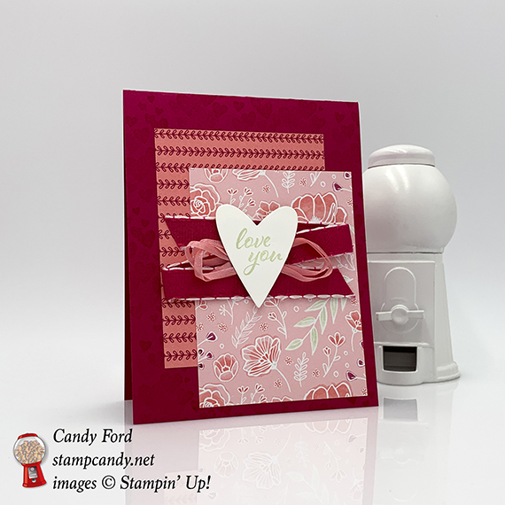 Forever Lovely stamp set, Be Mine Stitched Framelits Dies, All My Love paper, All My Love ribbon combo pack, love you valentine, handmade cards, Stampin' Up! #stampcandy