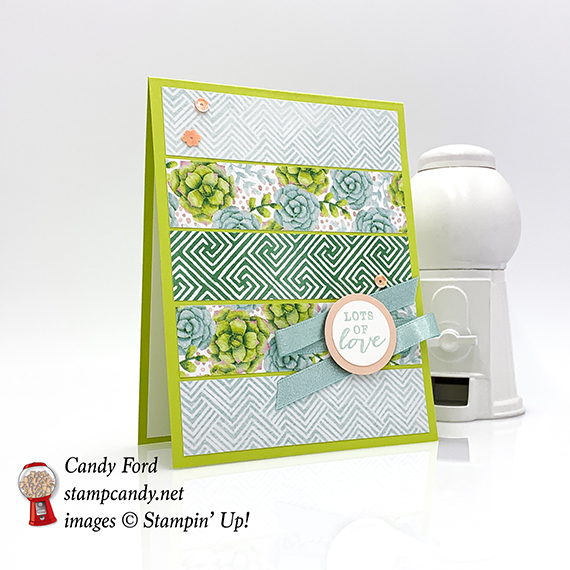 This card was made with new Second Release Sale-a-bration items available Feb 15 - Mar 31, 2019! All Adorned stamp set, Painted Season paper by Stampin' Up! #stampcandy