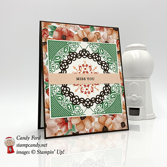 This card was made with new Second Release Sale-a-bration items available Feb 15 - Mar 31, 2019! All Adorned stamp set, Painted Season paper by Stampin' Up! Also the Doily Builder Thinlits Dies. #stampcandy