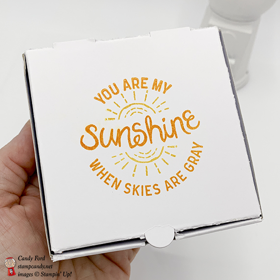 You are my sunshine handmade card and mini pizza box by Candy Ford. Here Comes the Sun, Artisan Textures, and Balloon Celebration stamp sets by Stampin! Up! #stampcandy #simplestamping